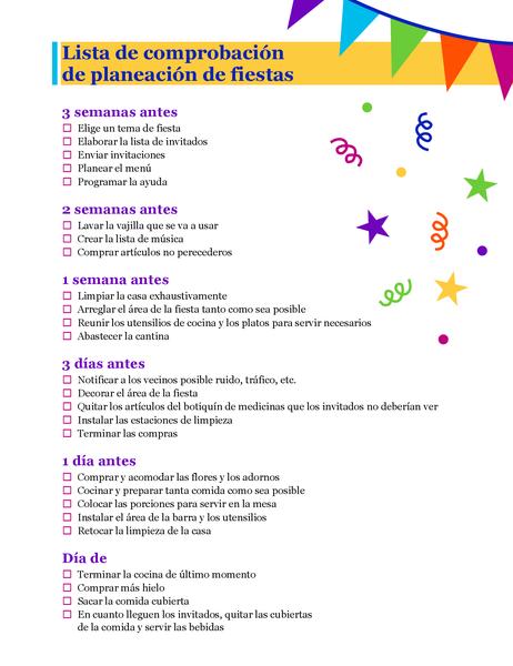Lista de comprobación de planeación de fiestas