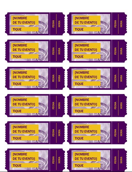 Vales púrpura para el evento