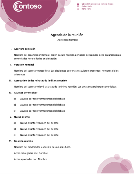 Agenda del conjunto rosa
