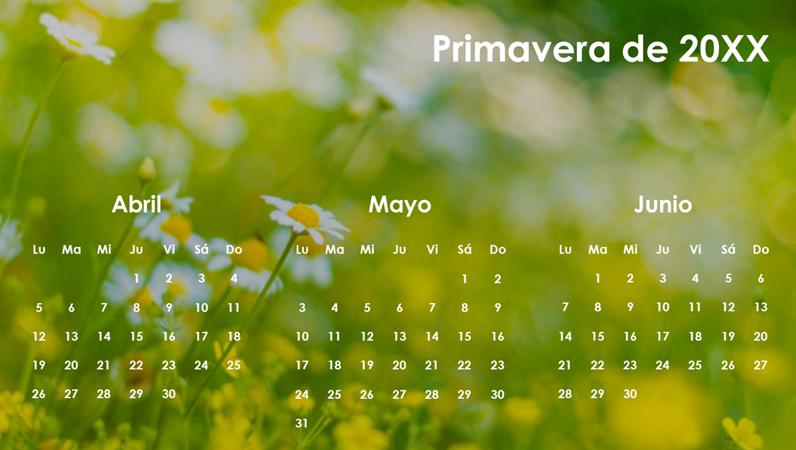 Calendario trimestral de las estaciones
