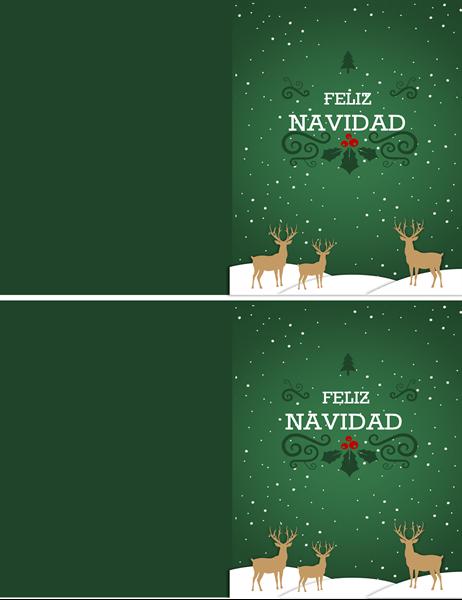 Tarjeta de Navidad con reno
