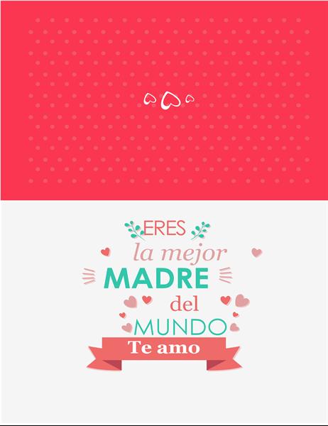 """Tarjeta del Día de la madre con la leyenda """"Eres la mejor"""""""