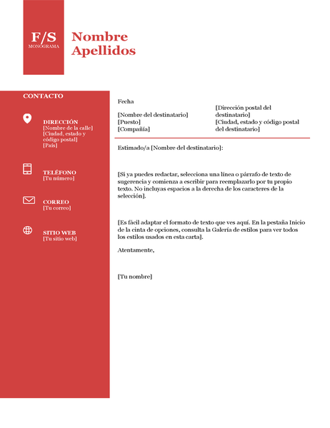 Carta de presentación con logotipo en negrita