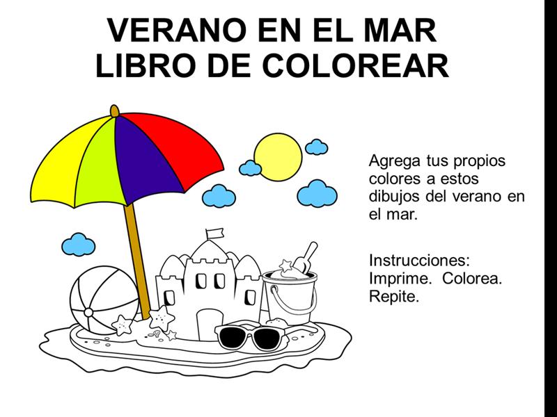 Libro para colorear con diseño del mar en el verano