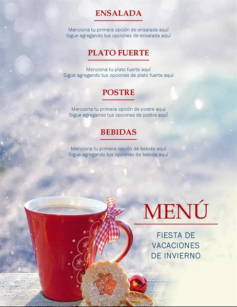 Menú de fiesta de vacaciones de invierno