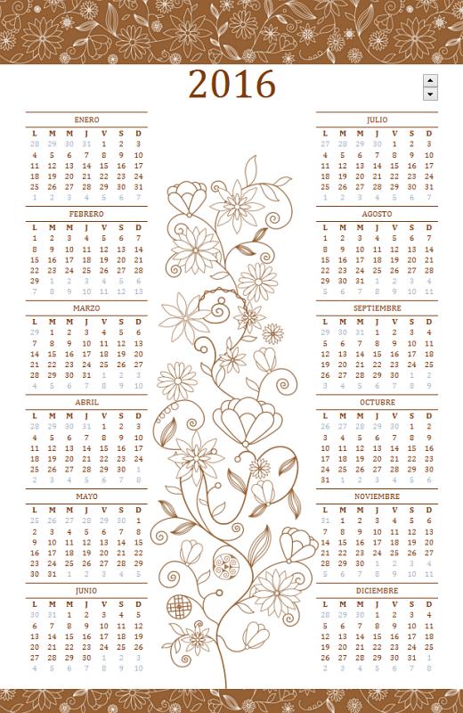 Calendario perpetuo (Lun - Dom): Diseño elegante