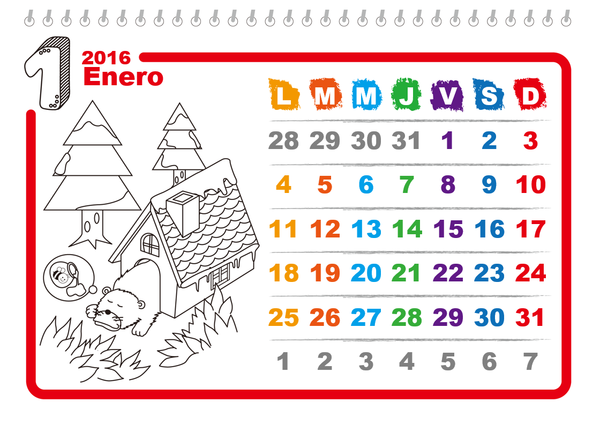 Calendario 2016 ilustrado para colorear (lunes a domingo)