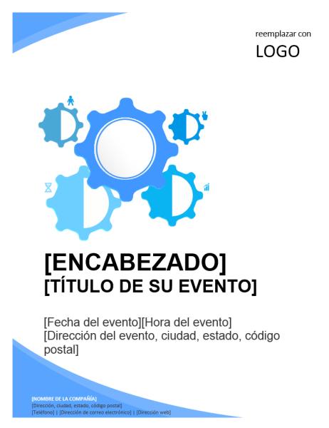 Folleto para evento empresarial (diseño en azul)