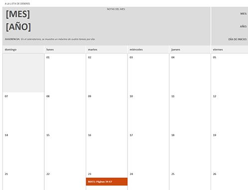 Calendario de tareas