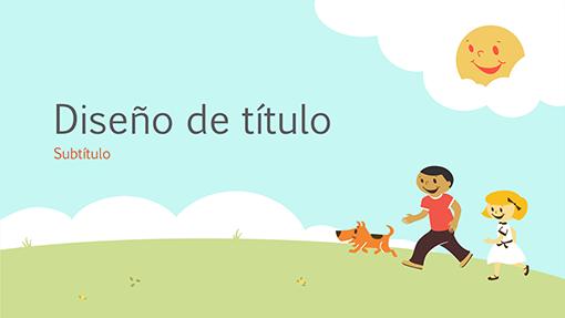 Diseño de presentación para el ámbito educativo de niños jugando (ilustración de dibujos animados, pantalla panorámica)