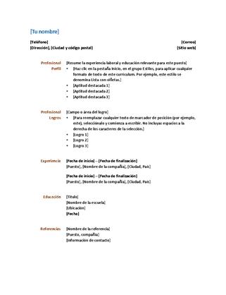 Currículum vítae (diseño funcional)