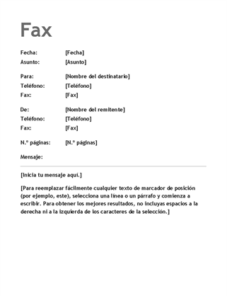 Página de portada de fax