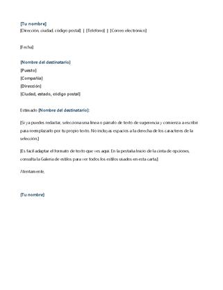 Carta de presentación para solicitud de prácticas