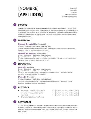 Currículo para estudiantes (diseño moderno)
