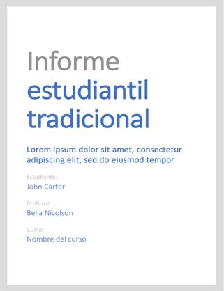 Informe estudiantil tradicional