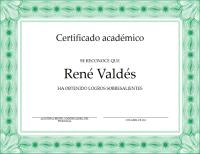 Certificado académico (borde verde formal)