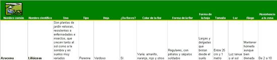 Lista de plantas de jardín