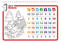 Calendario 2016 ilustrado para colorear (lunes a domingo)