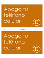 Póster recordatorio de apagar el teléfono móvil (naranja)