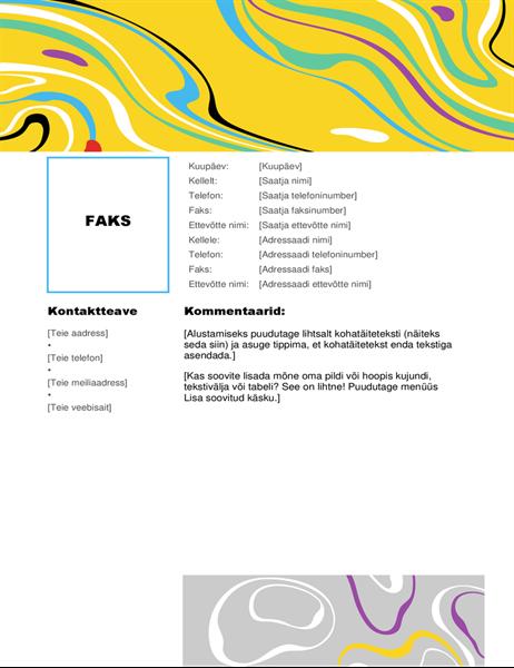 Värvilise keerisega faksi tiitelleht
