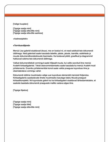 Kirjakooste: kiri (lihtne kujundus)