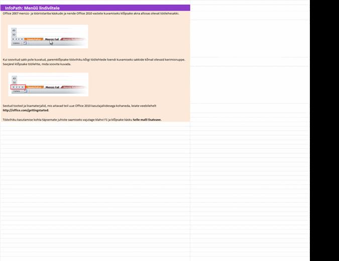 InfoPath 2010: menüükäskude asukohad lindil – töövihik teatmematerjalidega