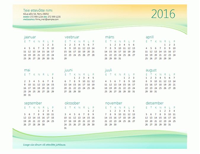 Väikeettevõtte kalender (mis tahes aasta)