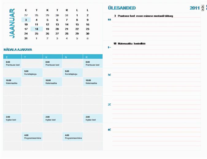 Õppuri nädala ajakava kalender (iga aasta, E–P)