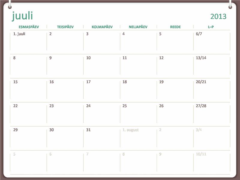 Kooliaasta kalender 2013–2014 (juuli)