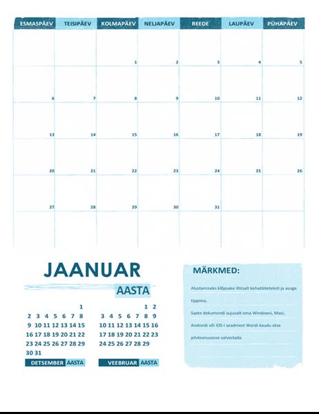 Kooliaasta kalender E–P (mis tahes aasta)