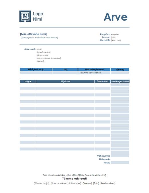 Teenusearve (kujundus Lihtne sinine)