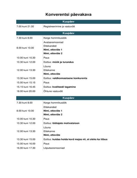 Konverentsi päevakava