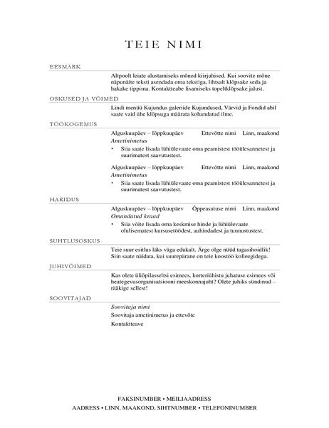 Müügijuhi elulookirjeldus (elegantne)