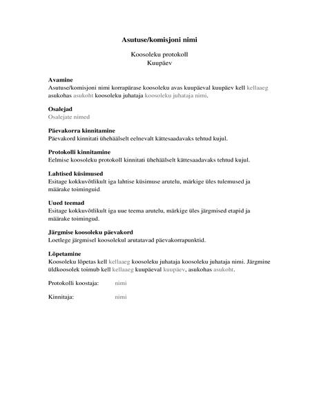 Asutuse koosolekuprotokoll (pikk vorm)