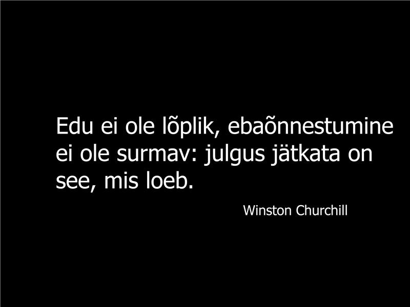 Winston Churchilli tsitaadiga slaid