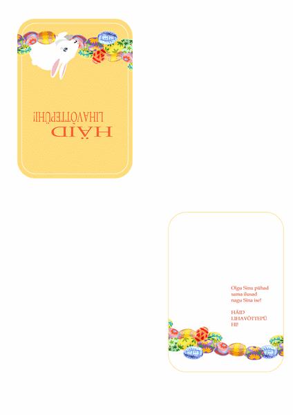Lihavõttekaart (jänese ja munadega)