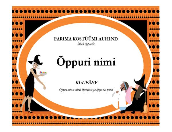 Parima Halloweeni kostüümi auhind