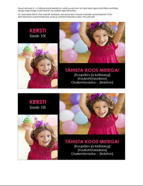 Fotodega sünnipäevakutsed (2 tk lehel)