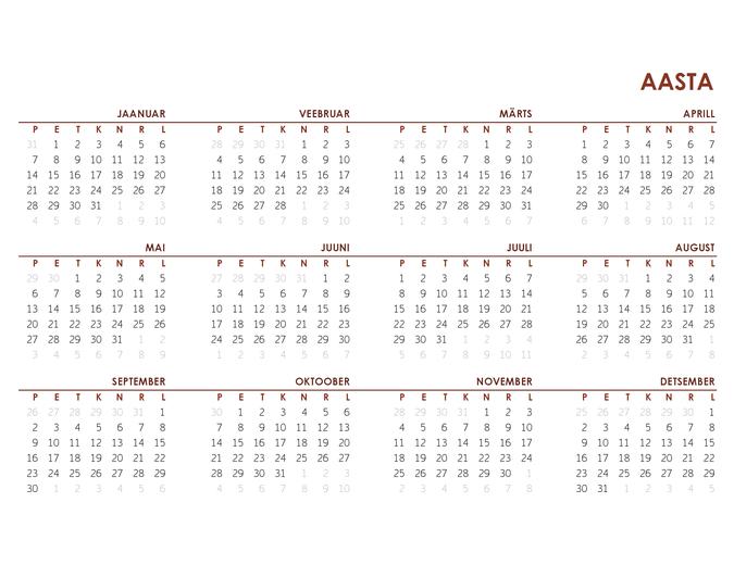 Üldine kogu aasta kalender