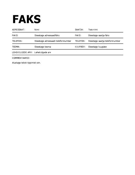 Faksi tiitelleht (paksus kirjas)