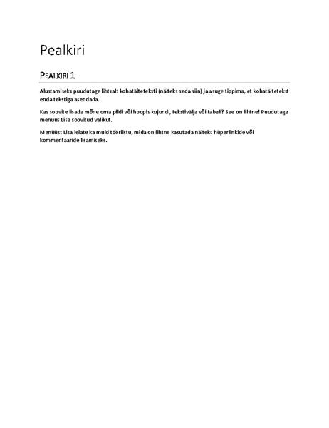Aruande kujundus (tühi)