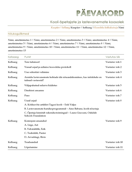Õpetajate ja lastevanemate koosoleku päevakord