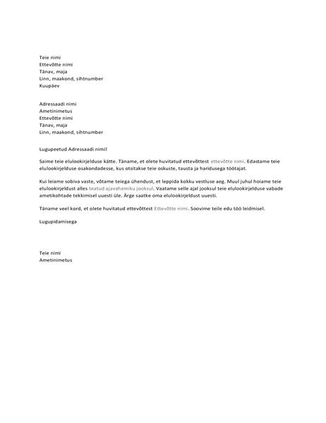 Kinnituskiri tööle kandideerijale