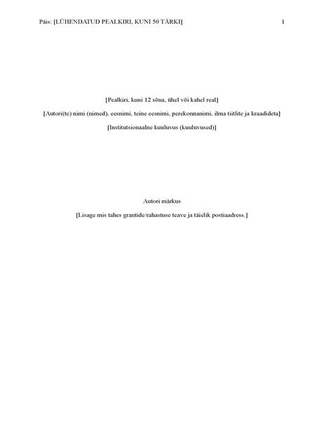 APA viitamissüsteemiga aruanne (6. väljaanne)