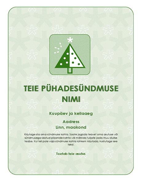 Pühadesündmuse flaier (rohelise puu pildiga)