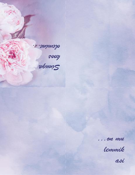 Romantiline kaart (roosiga, neljaks volditav)
