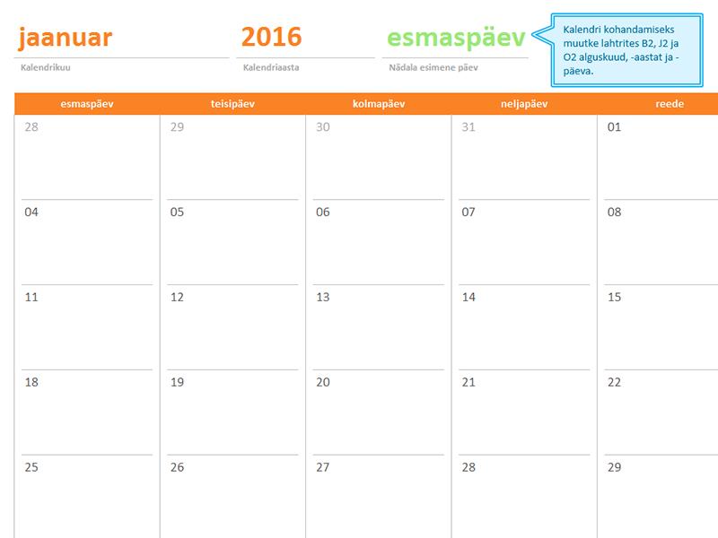 Aastast sõltumatu kuukalender (12 lehte, vikerkaarekarudega kujundus)