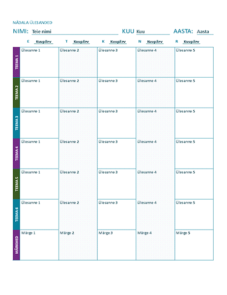 Nädalaülesannete ajakava (värviline)