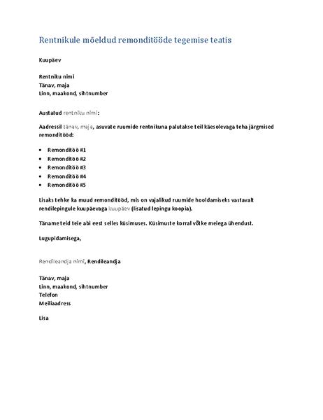 Rentnikule mõeldud remonditööde tegemise teatis (vormkiri)