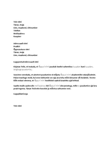Õppuri eelseisvast puudumisest teavitav kiri